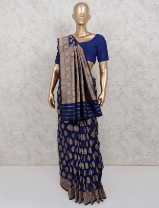 Banarasi silk sari in navy