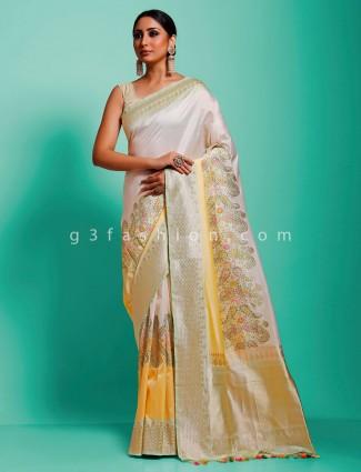 Banarasi pure munga silk off white minakari wedding saree