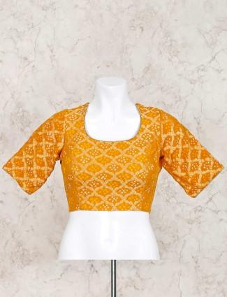 Bandhej mustard yellow ready made blouse
