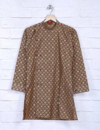Bandhgala cotton printed brown kurta suit