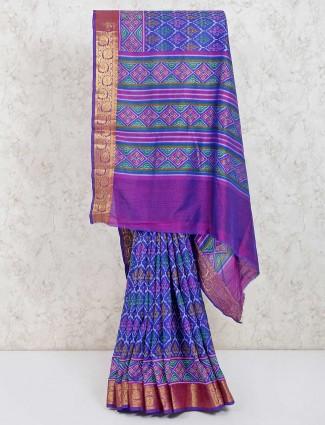 Beautifiul royal blue cotton silk saree