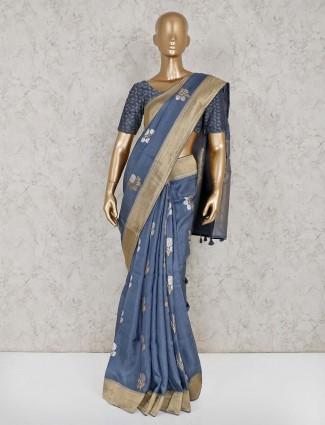 Beautiful grey semi silk saree