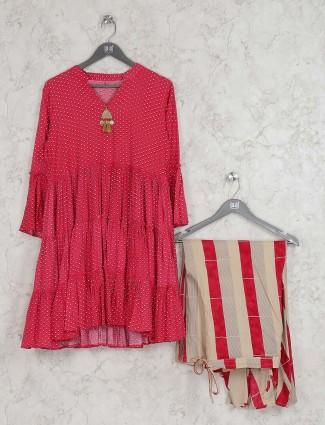 Beautiful red color cotton fabric designer kurti set