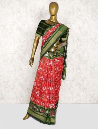Beautiful red color patola silk wedding saree