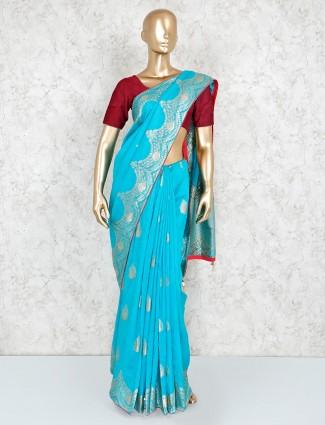 Beautiful silk saree in aqua