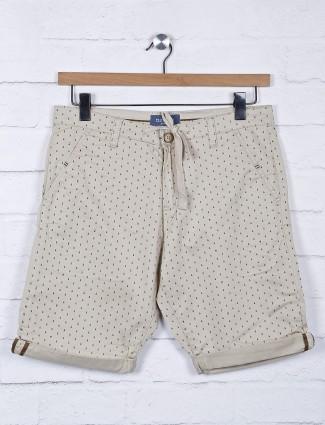 Beevee printed cream cotton fabric shorts