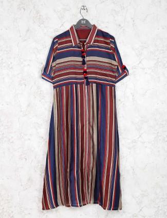 Beige and blue hue cotton fabric stripe pattern kurti
