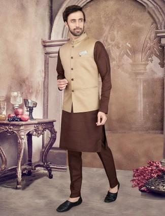 Beige and brown cotton silk waistcoat set party wear