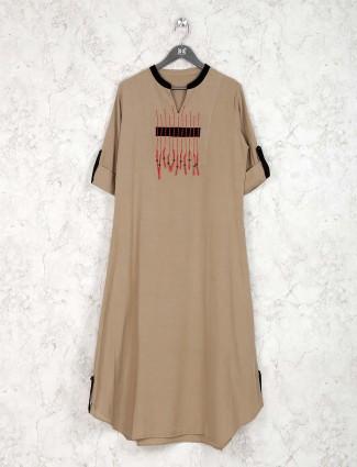 Beige color cotton fabric casual kurti