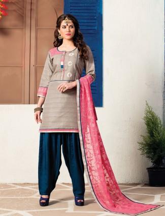 Beige color punjabi style suit