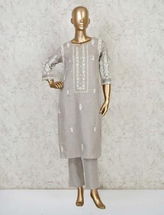 Beige cotton festive wear pant suit
