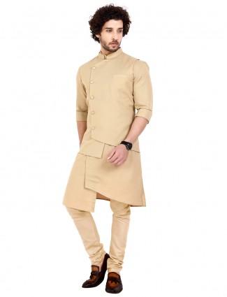 Beige cotton party wear waistcoat set