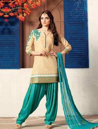 Beige cotton silk fabric salwar suit