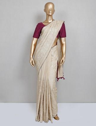 Beige cotton silk festive wear saree