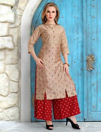 Beige cotton silk palazzo suit for festive
