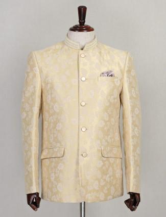 Beige designer silk jodhpuri suit