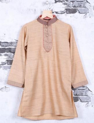 Beige festive wear solid kurta suit