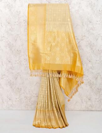 Beige hue banarasi semi silk lovely saree