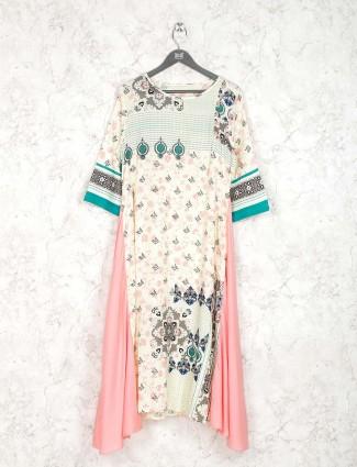 Beige hue cotton casual wear kurti