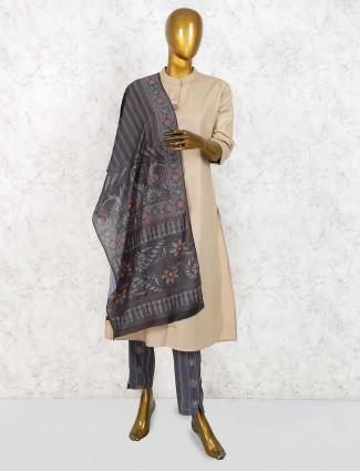 Beige hue cotton lovely salwar suit