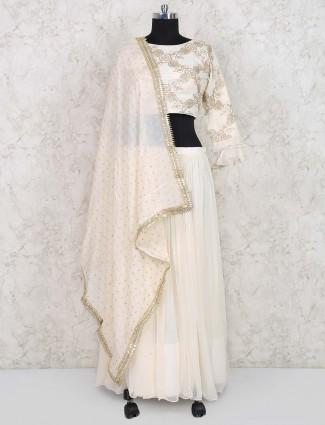 Beige hue cotton silk festive lehenga choli