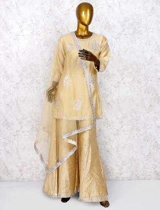 Beige hue cotton silk festive wear punjabi palazzo suit