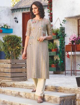 Beige hue festive cotton punjabi kurti