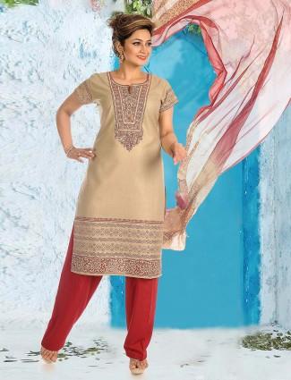 Beige hue festive cotton punjabi salwar suit