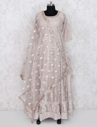 Beige hue party wear georgette floor length anarkali salwar suit