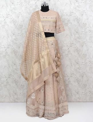 Beige hue pretty net fabric lehenga choli