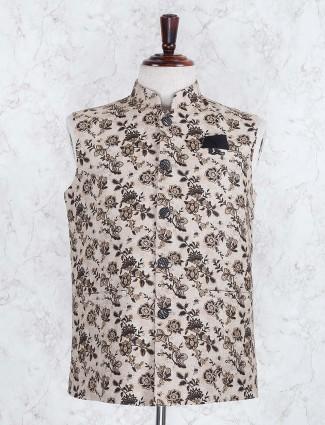 Beige hue printed terry rayon fabric waistcoat