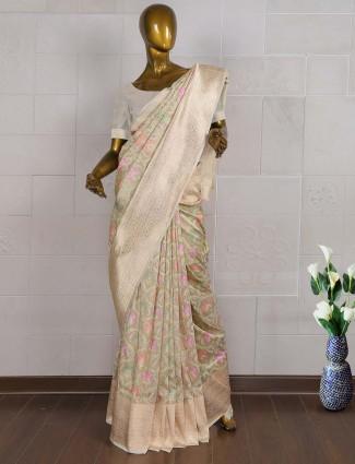 Beige hue pure banarasi wedding wear saree