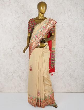 Beige hue semi silk classic saree