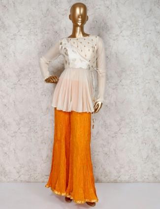 Beige palazzo crop top set in cotton silk