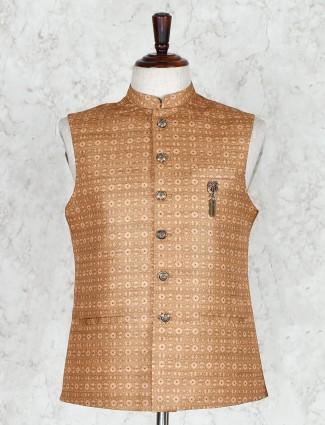 Beige printed cotton silk mens waistcoat