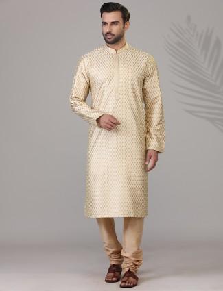 Beige prnted kurta suit for festive season