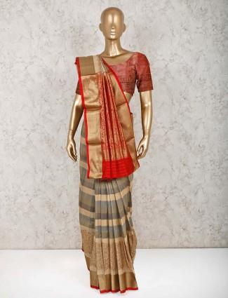 Beige pure silk wedding wear saree