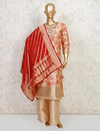 Beige raw silk festive wear palazzo suit