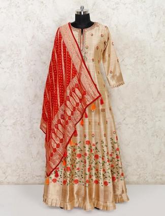 Beige raw silk floor length wedding wear anarkali suit