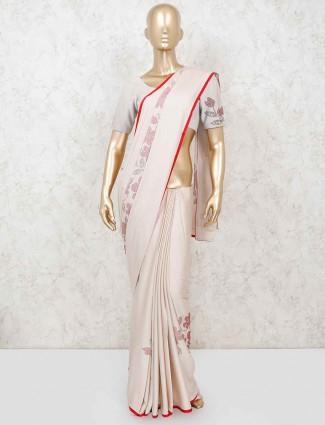 Beige satin reception or wedding saree
