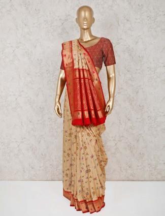 Beige semi silk beautiful saree