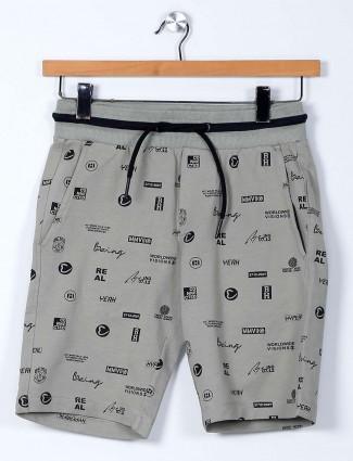 Being Human green printed cotton shorts