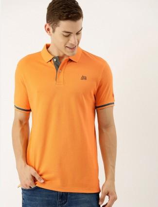 Being human soild orange polo t-shirt