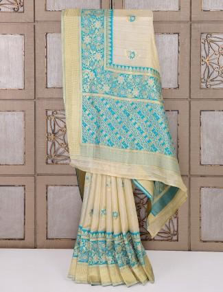 Bhagalpuri silk cream hue saree