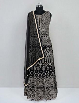 Black anarkali salwar suit in georgette