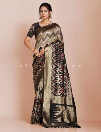 Black and beige banarasi silk wedding saree