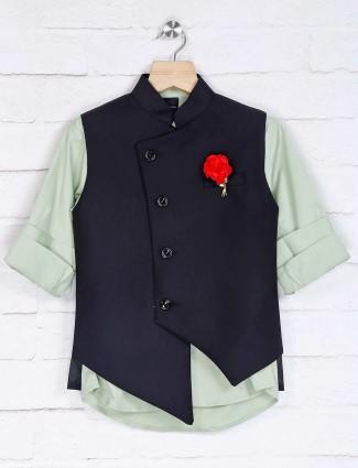 Black and pista green cotton silk waistcoat set