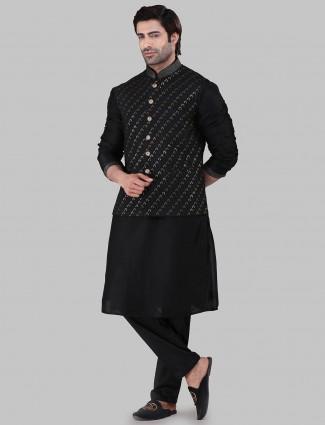 Black chikan work party waistcoat set