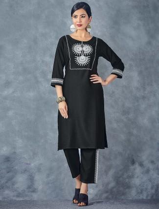 Black color casual wear cotton kurti set