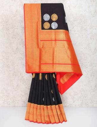 Black color semi silk saree in festive